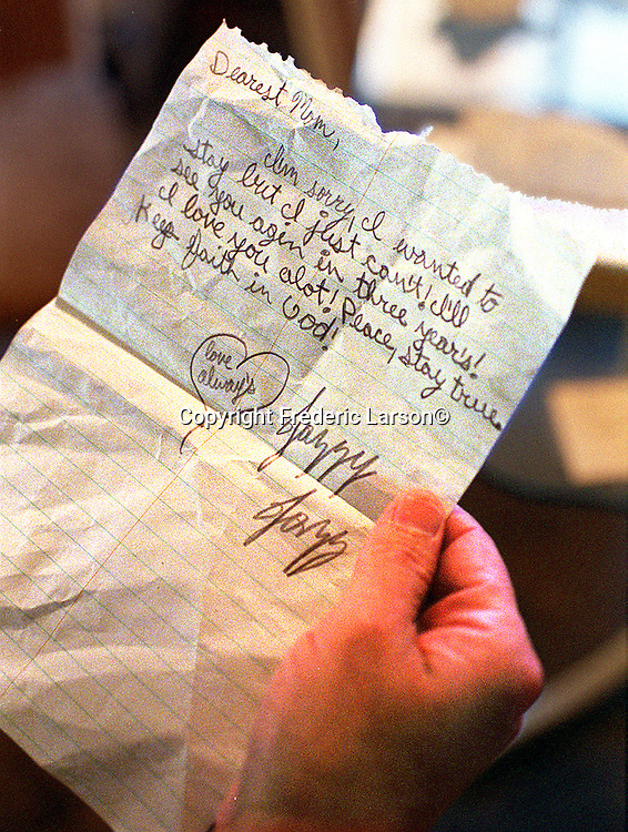 Jaziman Herandez, age 15, leaves her mother (Crystal)  note before running away from her parents home in Sacamento, California.