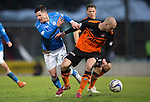 St Johnstone v Dundee United...27.12.14   SPFL<br /> Michael O'Halloran is tackled by Jarolsaw Fojut<br /> Picture by Graeme Hart.<br /> Copyright Perthshire Picture Agency<br /> Tel: 01738 623350  Mobile: 07990 594431