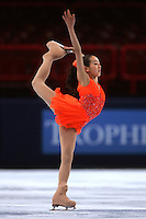 November 18, 2005; Paris, France; Figure skating star MAO ASADA of Japan skates to gold in ladies figure skating at Trophee Eric Bompard, ISU Paris Grand Prix competition.  Asada is just 15 years old and not eligible for the Torino 2006 Olympics, yet still a bright hope in Japanese figure skating for championships.<br />