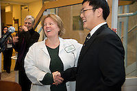 Ellen Black, Ph.D., left, and Liqun Chen. Class of 2015 Foundations Awards.