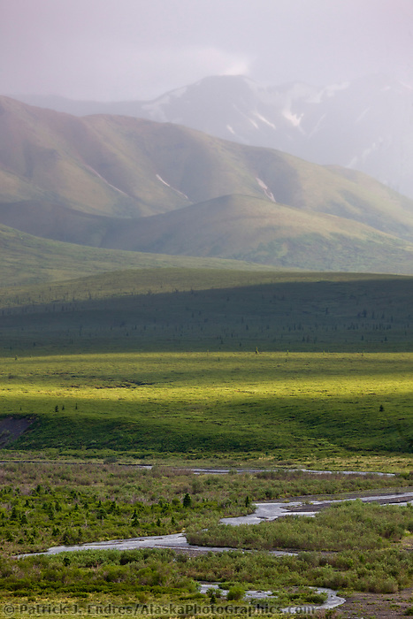Stormy skies over the Savage river drainage, east end of Denali National Park, interior, Alaska.