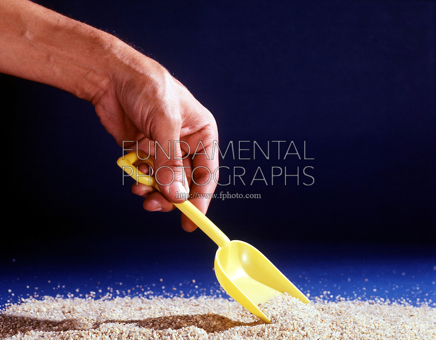 INERTIA CAUSES SCOOP OF SAND TO HOLD ITS SHAPE<br />