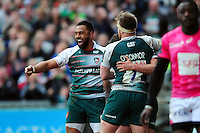 Telusa Veainu of Leicester Tigers celebrates Freddie Burns' first half try. European Rugby Champions Cup quarter final, between Leicester Tigers and Stade Francais on April 10, 2016 at Welford Road in Leicester, England. Photo by: Patrick Khachfe / JMP