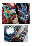 Close up of Native American Pow Wow Regalia. Examples of ethnic pride, heritage and traditional native folk art crafts bead work.<br />