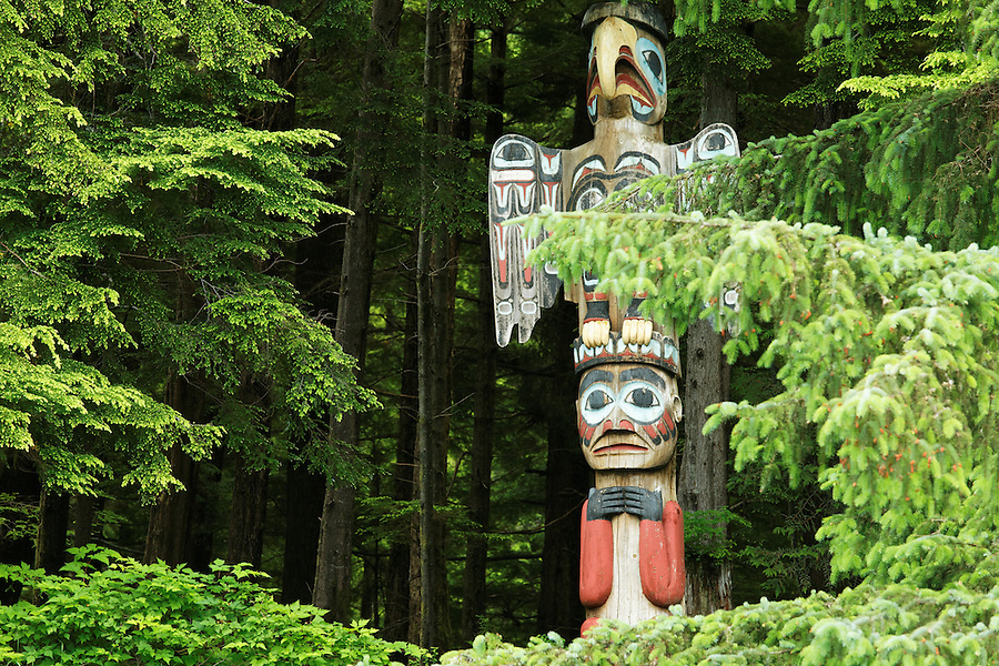 Replica of Thunderer's Pole totem pole, Totem Bight State Historical Park, Ketchikan, Alaska