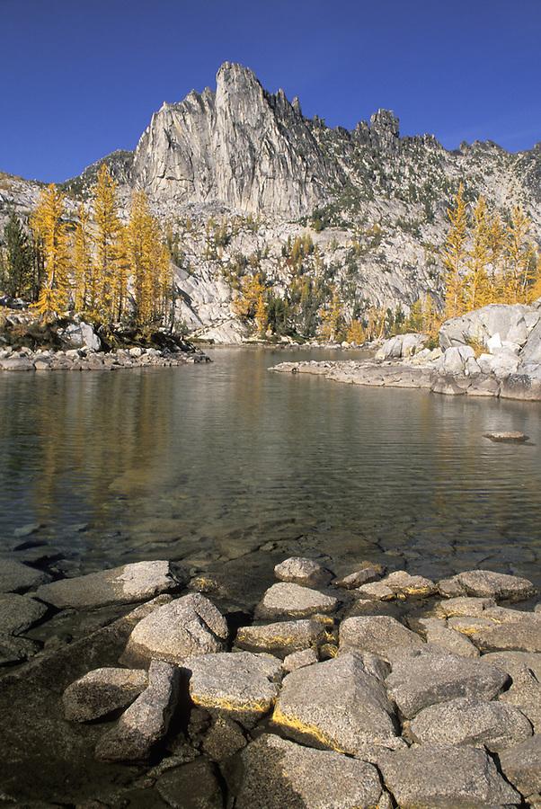 Prusik Peak and rocks in Leprechaun Lake, Enchantment Lakes, Alpine Lakes Wilderness, Washington