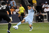Omar Bravo, Sporting KC shoots on goal...Sporting KC and Chicago Fire played to a scoreless tie in the inaugural game at LIVESTRONG Sporting Park, Kansas City, Kansas.