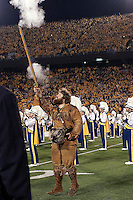 WVU Mountaineer mascot. The West Virginia Mountaineers defeated the South Florida Bulls 20-6 on October 14, 2010 at Mountaineer Field, Morgantown, West Virginia.