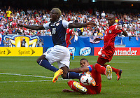 Chicago, IL - Sunday July 28, 2013:  USMNT forward Eddie Johnson (26) battles with Panama's defender Roman Torres (5) during the CONCACAF Gold Cup Finals soccer match between the USMNT and Panama, at Soldier Field in Chicago, IL.