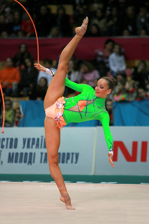 """Marina Shpekht of Russia performs with rope at 2007 World Cup Kiev, """"Deriugina Cup"""" in Kiev, Ukraine on March 16, 2007."""