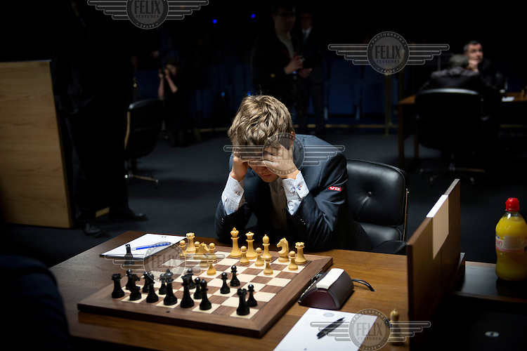 Magnus Carlsen at the World Chess Championships in London. At 13 years of age Carlsen became the youngest, at that time, chess grandmaster. On 1 January 2010, aged 19, he became the youngest ever world number one, according to the World Chess Federation (FIDE) rankings. /Felix Features
