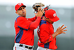 3 March 2011: Washington Nationals' infielder Alex Cora (left) makes a catch off the shoulder of teammate Alberto Gonzalez during a Spring Training game against the St. Louis Cardinals at Roger Dean Stadium in Jupiter, Florida. The Cardinals defeated the Nationals 7-5 in Grapefruit League action. Mandatory Credit: Ed Wolfstein Photo
