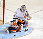 3 February 2007: New York Islanders goaltender Rick DiPietro (39) makes a kick save in the third period against the Montreal Canadiens at the Bell Centre in Montreal, Canada. The Islanders defeated the Canadiens 4-2.Mandatory Photo Credit: Ed Wolfstein Photo *** Editorial Sales through Icon Sports Media *** www.iconsportsmedia.com