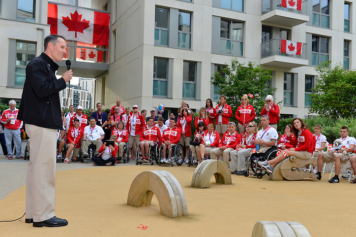 LONDON, ENGLAND 26/08/2012 - David Legg, President of the CPC, speaks to the athletes during a pep rally at Canada House at the London 2012 Paralympic Games. (Photo: Phillip MacCallum/Canadian Paralympic Committee)
