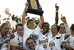 05 December 2004: Notre Dame celebrates with the championship trophy. Notre Dame defeated UCLA 4-3 on penalty kicks after the game ended in a 1-1 overtime tie at SAS Stadium in Cary, NC in the championship match in the 2004 NCAA Division I Women's College Cup...