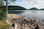 Scene from shore of Eagle lake in Acadia National Park Maine US