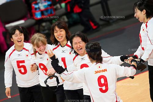 Japan team group (JPN), .SEPTEMBER 6, 2012 - Goalball : .Women's goalball Semi-Final match between Sweden 3-4 Japan of the London 2012 Paralympic Games at the Copper Box in Stratford, UK. (Photo by Akihiro Sugimoto/AFLO SPORT) [1081]***Local Caption***(L-R) Akane Nakashima, Eiko Kakehata, Masae Komiya, Haruka Wakasugi, Akiko Adachi, Rie Urata, .