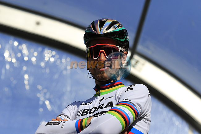 World Champion Peter Sagan (SVK) Bora-Hansgrohe on stage at sign on for Gent-Wevelgem in Flanders Fields 2017, running 249km from Denieze to Wevelgem, Flanders, Belgium. 26th March 2017.<br /> Picture: Eoin Clarke   Cyclefile<br /> <br /> <br /> All photos usage must carry mandatory copyright credit (&copy; Cyclefile   Eoin Clarke)