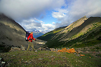 Skyline Trail, Jasper National Park, Alberta, Canada, July 2006. Curator Mountain dominates the sky above the campsite. Trekking the Skyline Trail takes you over mountain ridges and through green alpine meadows offering spectaculair mountain landscapes and lots of wildlife. Photo by Frits Meyst/Adventure4ever.com.