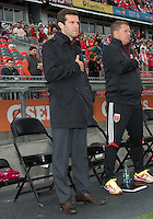 06 October 2012: D.C. United head coach Ben Olsen  during the national anthems in an MLS game between D.C. United and Toronto FC at BMO Field in Toronto, Ontario..D.C. United won 1-0..