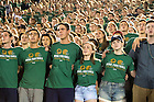 Sept. 5, 2015; The student section sings the Alma Mater after Notre Dame defeated Texas 38-3. (Photo by Matt Cashore)