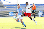 14 December 2008: Maryland's Jeremy Hall (17) and UNC's Michael Callahan (5). The University of Maryland Terrapins defeated the University of North Carolina Tar Heels 1-0 at Pizza Hut Park in Frisco, TX in the championship game of the 2008 NCAA Division I Men's College Cup.