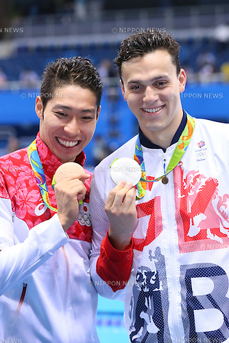 Kosuke Hagino (JPN), James Guy (GBR)<br /> AUGUST 9, 2016 - Swimming : <br /> Men's 4x200m Freestyle Relay Medal Ceremony <br /> at Olympic Aquatics Stadium <br /> during the Rio 2016 Olympic Games in Rio de Janeiro, Brazil. <br /> (Photo by Yohei Osada/AFLO SPORT)