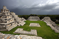 Great Acropolis, square base 530 feet wide and 25 feet high, with the Five-Floor Building rising from the summit and the House of the Moon and the Southwest Temple in the distance, Puuc architectural style, Late Classic Period, 600 - 900 AD, Edzna, Campeche, Mexico. Picture by Manuel Cohen