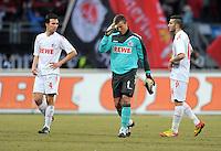 FUSSBALL   1. BUNDESLIGA  SAISON 2011/2012   22. Spieltag 1 FC Nuernberg - 1. FC Koeln       18.02.2012 Christian Eichner, Michael Rensing, Mikael Ishak (v. li., 1. FC Koeln)