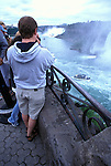 Niagara Falls Tourists near Horseshoe Falls with Maid of the Mist below