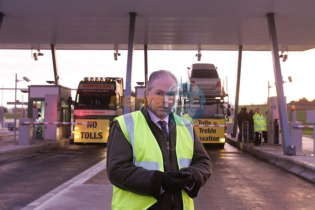 M4 motorway Kilcock, Jimmy Quinnfrom the Irha with his truckers refusing to pay the Tolls on the newly opened stretch of the M4 motorway, The truckers protested for over two hours blocking the truck lanes of the toll plaza..Photo NEWSFILE/FRAN CAFFREY..(Photo credit should read FRAN CAFFREY/NEWSFILE)...This Picture has been sent you under the condtions enclosed by:.Newsfile Ltd..the Studio,.Millmount Abbey,.Drogheda,.Co Meath..Ireland..Tel: +353(0)41-9871240.Fax: +353(0)41-9871260.GSM: +353(0)86-2500958.email: pictures@newsfile.ie.www.newsfile.ie.FTP: 193.120.102.198..This picture is from Fran Caffrey@newsfile.ie