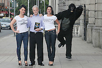 """NO REPRO FEE. 15/9/2010. John J. May launches his controversial book """"The Origin of Specious Nonsense"""" outside the Dail in Dublin.  Also pictured are a gorrila, Joan Fitzgerald and Janine Clancy. The launch will then commences at 7pm in Buswells hotel where he delivers his talk: """"How evolution made monkeys out of man""""Picture James Horan/Collins Photos"""