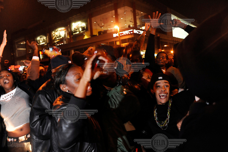 Celebrations in Harlem continue into the night after Barack Obama was named the winner of the 2008 Presidential elections..