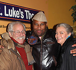 """After play Guiding Light's Denise Pence """"Katie"""" poses with her husband Steve Boockvor and author and director Layon Gray at 7th Anniversary of Layon Gray's """"Black Angels Over Tuskegee"""" - Straighten Up Fly Right -  on February 9, 2017 at St. Luke's Theatre, New York City, New York. (Photo by Sue Coflin/Max Photos)"""