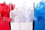 Red, white and blue gift bags studio image