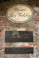 Plaque on exterior wall of the Museo Casa de Leon Trotsky or Leon Trotsky House Museum in Coyoacan, Mexico City