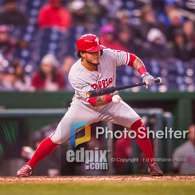 28 April 2016: Philadelphia Phillies shortstop Freddy Galvis attempts a bunt in the 9th inning against the Washington Nationals at Nationals Park in Washington, DC. The Phillies shut out the Nationals 3-0 to sweep their mid-week, 3-game series. Mandatory Credit: Ed Wolfstein Photo *** RAW (NEF) Image File Available ***