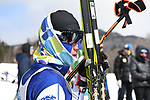 FRANCONIA, NH - MARCH 11:   An athlete recovers in the finish area after the Men's 20K Freestyle event at the Division I Men's and Women's Skiing Championships held at Jackson Ski Touring on March 11, 2017 in Jackson, New Hampshire. (Photo by Gil Talbot/NCAA Photos via Getty Images)