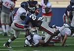 Ole Miss' Derrick Herman (26) is unable to hold onto a pass during a team scrimmage at Vaught-Hemingway Stadium in Oxford, Miss. on Saturday, August 20, 2011.