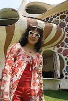 Magali Mayorga at her unusual shell-shaped house built by Senosian Arquitectos in 2005. Naucalpan, Estado de Mexico, Mexico. Monday, March 31, 2008