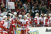 Team Detroit Red Wings watching replay and in background fan with sign during ice-hockey match between Los Angeles Kings and Detroit Red Wings in NHL league, February 28, 2011 at Staples Center, Los Angeles, USA. (Photo By Matic Klansek Velej / Sportida.com)