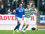 St Johnstone v Celtic...07.05.14    SPFL<br /> Michael O'Halloran and Mikael Lustig<br /> Picture by Graeme Hart.<br /> Copyright Perthshire Picture Agency<br /> Tel: 01738 623350  Mobile: 07990 594431
