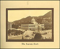 BNPS.co.uk (01202 558833)<br /> Pic: Tooveys/BNPS<br /> <br /> The Supreme Court on Hong Kong Island.<br /> <br /> A fascinating set of early images of Hong Kong long before it became the metropolis it is today have surfaced. <br /> <br /> The black and white photographs dating to the early 20th century depict a region unrecognisable to what stands today. <br /> <br /> There are several shots of natives walking down packed low-rise streets while a number of others picture primitive sailing boats. <br /> <br /> The collection was compiled by adventurous British photographer Denis H. Hazell, who took each of the 26 postcard-like photos.