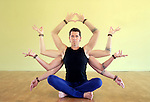 Man with eight limbs as manifestation of Shiva. The eight limbs of yoga are: Yama, Niyama, Asana, Pranayama, Pratyahara, Dharana, Dhyana, and Samadhi.<br />