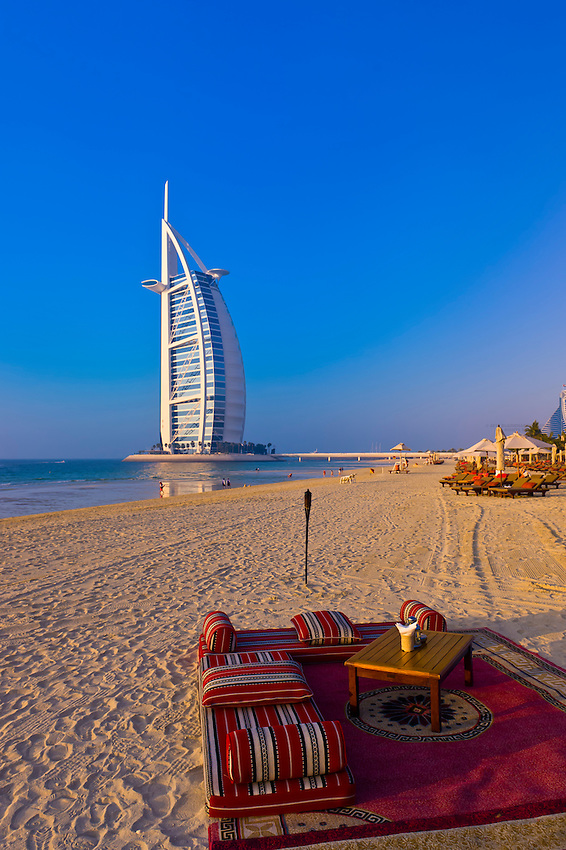 Beach, Burj Al Arab Hotel (designed to resemble a billowing sail), Dubai, United Arab Emirates