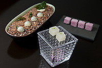 """White chocolate bay leaves, Pisco sour Jell-o cubes and purple corn marshmallows"" at Central, a restaurant in Lima, Peru."