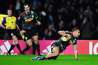 Joe Marchant of Harlequins celebrates his try. Aviva Premiership match, between Harlequins and Gloucester Rugby on December 27, 2016 at Twickenham Stadium in London, England. Photo by: Patrick Khachfe / JMP