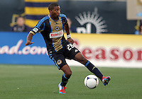 CHESTER, PA - AUGUST 12, 2012:  Raymon Gaddis (28) of the Philadelphia Union controls the ball against the Chicago Fire during an MLS match at PPL Park, in Chester, PA on August 12. Fire won 3-1.
