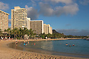 Waikiki Beach, resort hotels and Diamond Head; Honolulu, Oahu, Hawaii.