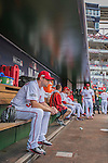 7 October 2016: Washington Nationals starting pitcher Max Scherzer sits pensively in the dugout  prior to the first game of the NLDS against the Los Angeles Dodgers at Nationals Park in Washington, DC. The Dodgers edged out the Nationals 4-3 to take the opening game of their best-of-five series. Mandatory Credit: Ed Wolfstein Photo *** RAW (NEF) Image File Available ***